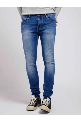 JEANS SUPER SKINNY IN DENIM STRETCH STONE WASHED, BLU