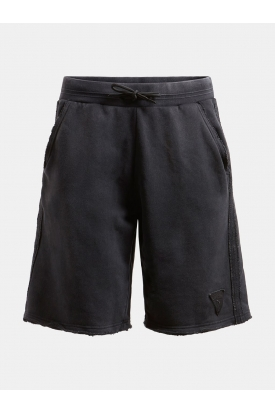 SHORT IN FELPA CON PATCH LOGO, NERO