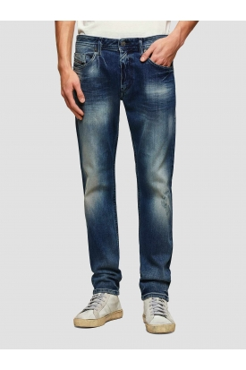 JEANS SLIM DENIM STRETCH CON STRAPPI, BLU