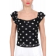 TOP OFF SHOULDER IN PIZZO STAMPA POIS, NERO