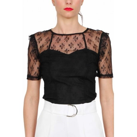 TOP A MANICHE CORTE CROPPED IN PIZZO, NERO