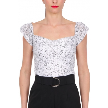 TOP OFF SHOULDER IN PIZZO STAMPATO, BIANCO