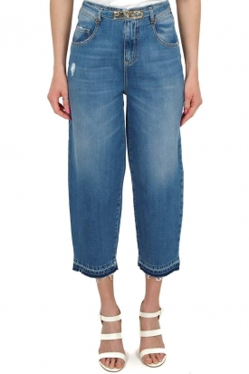 JEANS VITA ALTA MOM FIT IN DENIM STONE WASHED, BLU
