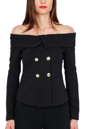 GIACCA BLAZER OFF SHOULDER, NERO
