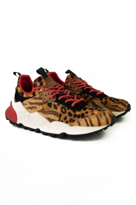 SNEAKERS DONNA ANIMALIER, CAMMELLO