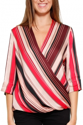 CAMICIA SCOLLO INCROCIATO STAMPA RIGHE, BORDEAUX