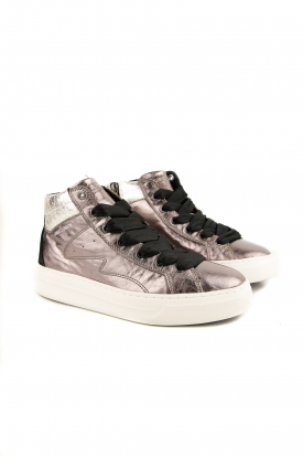 SNEAKERS ALTA IN PELLE LAMINATA MIX DI MATERIALI, ROSA