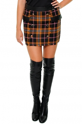 GONNA CORTA TARTAN CON INSERTI ECOPELLE, NERO